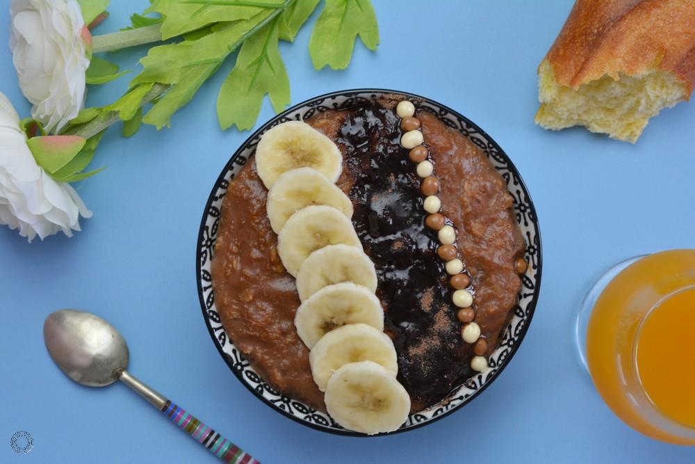 recette du porridge à l'avoine, chocolat et banane
