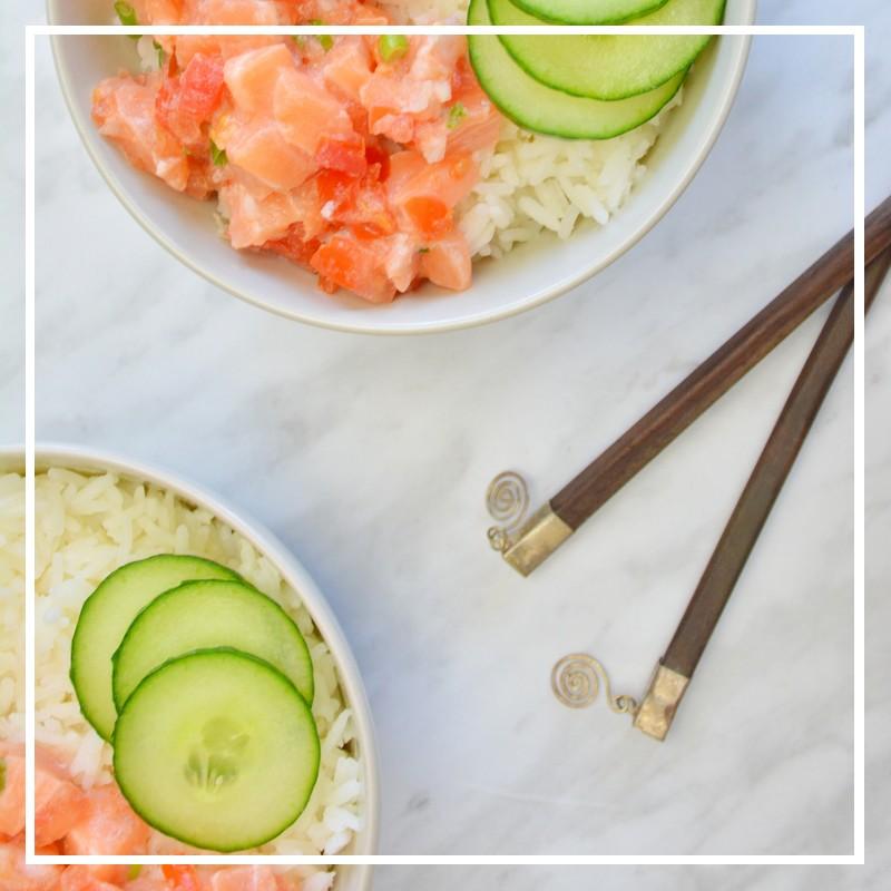 recette du pokebowl au saumon
