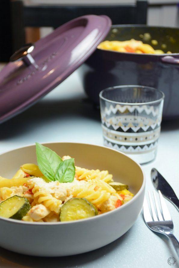 one pot pasta poulet courgette poivrons
